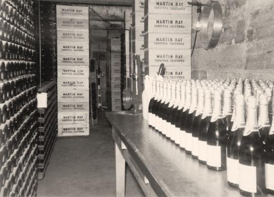 Vintage photo of Martin Ray wine cellar
