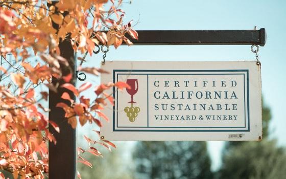 Certified California Sustainable Vineyard & Winery sign