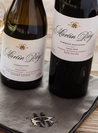 Martin Ray wine bottles on monogrammed napkin