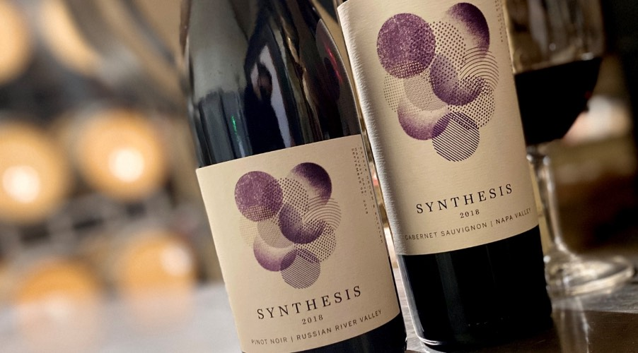 Synthesis wine bottles and wine glass